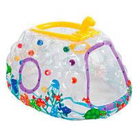 Детский игровой центр 48664 надувной, прозрачный, подводная лодка, с подвижным перископом, 10 шариков, полимер, игровой цент для детей, детские