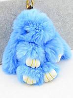Брелок  Кролик из натурального меха  голубого цвета 150х80 мм. хорошего качества