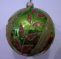 Елочный шар зеленый глянцевый Бронзовая ветка 100 мм