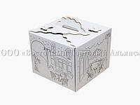 Упаковка для торта Бабочка с принтом - Белая - 250х250х200 мм