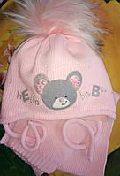 Нежный зимний комплект с мышкой (шапка+шарф.