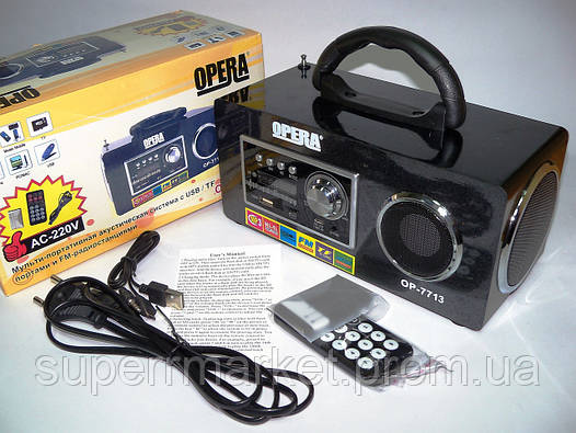 Акустика 6W Opera OP-7713 USB 220V, MP3 SD USB FM, фото 2