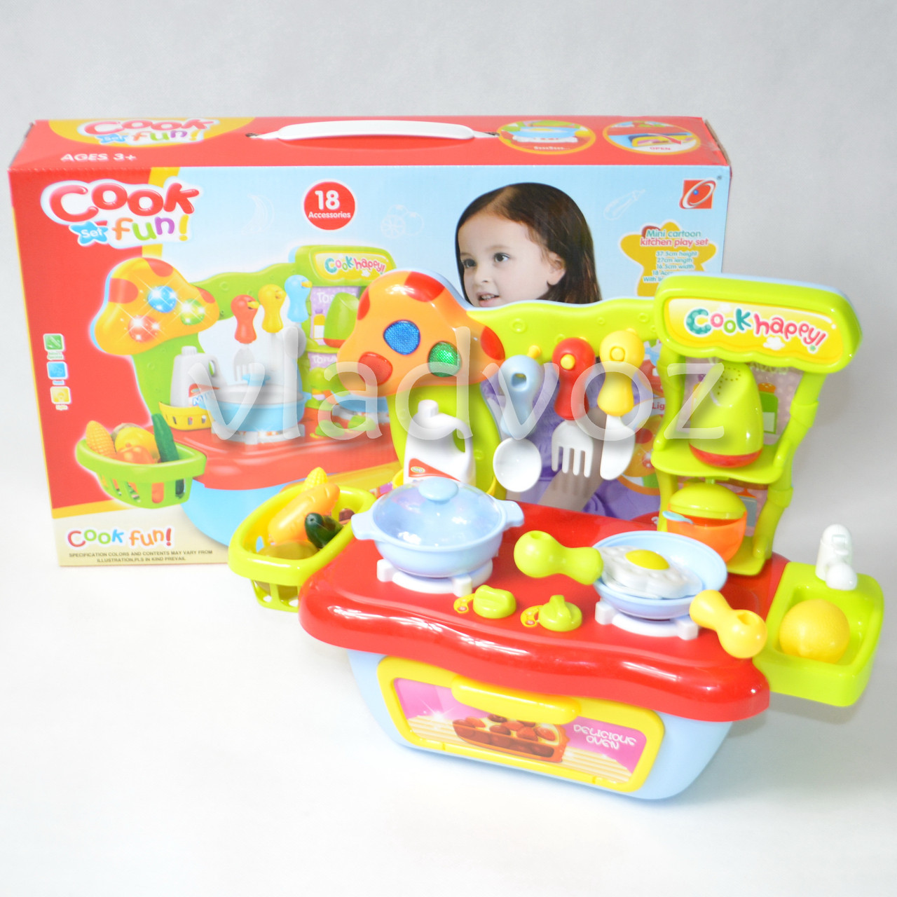 Детская пластиковая кухня для девочки, плита 2 камфорки голубая Cook fun mini