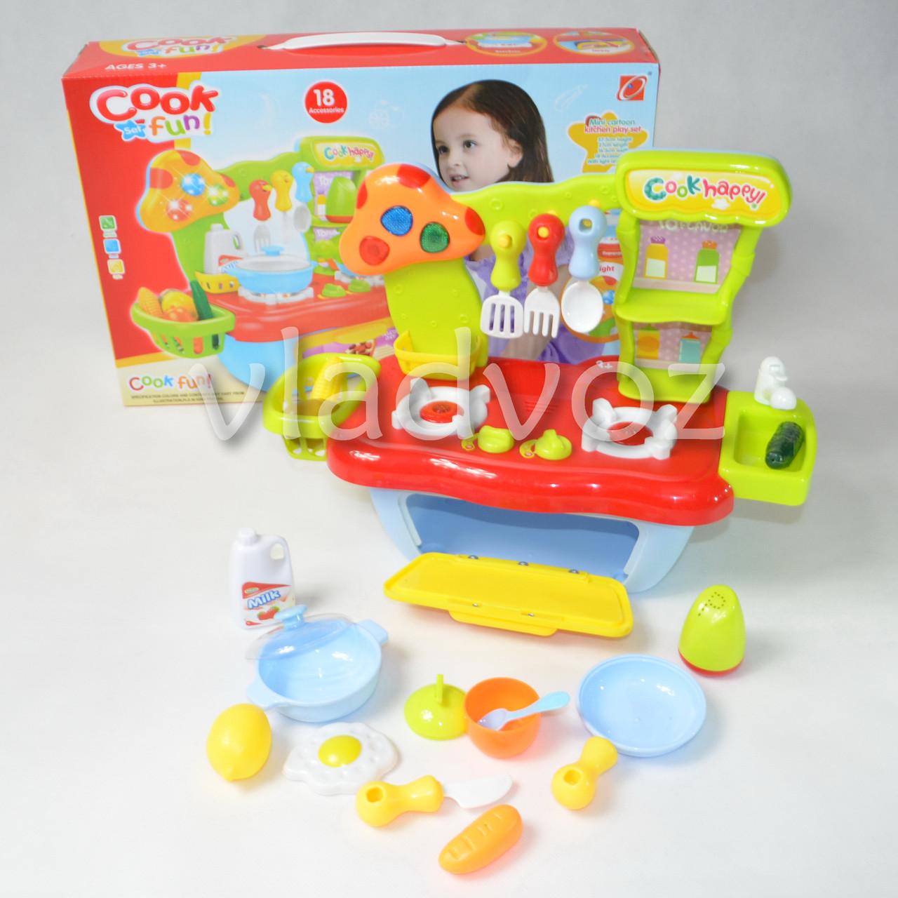 фото детской пластиковой кухни для девочки, плита 2 камфорки Cook fun mini голубая
