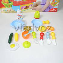 Детская пластиковая кухня для девочки, плита 2 камфорки голубая Cook fun mini, фото 3