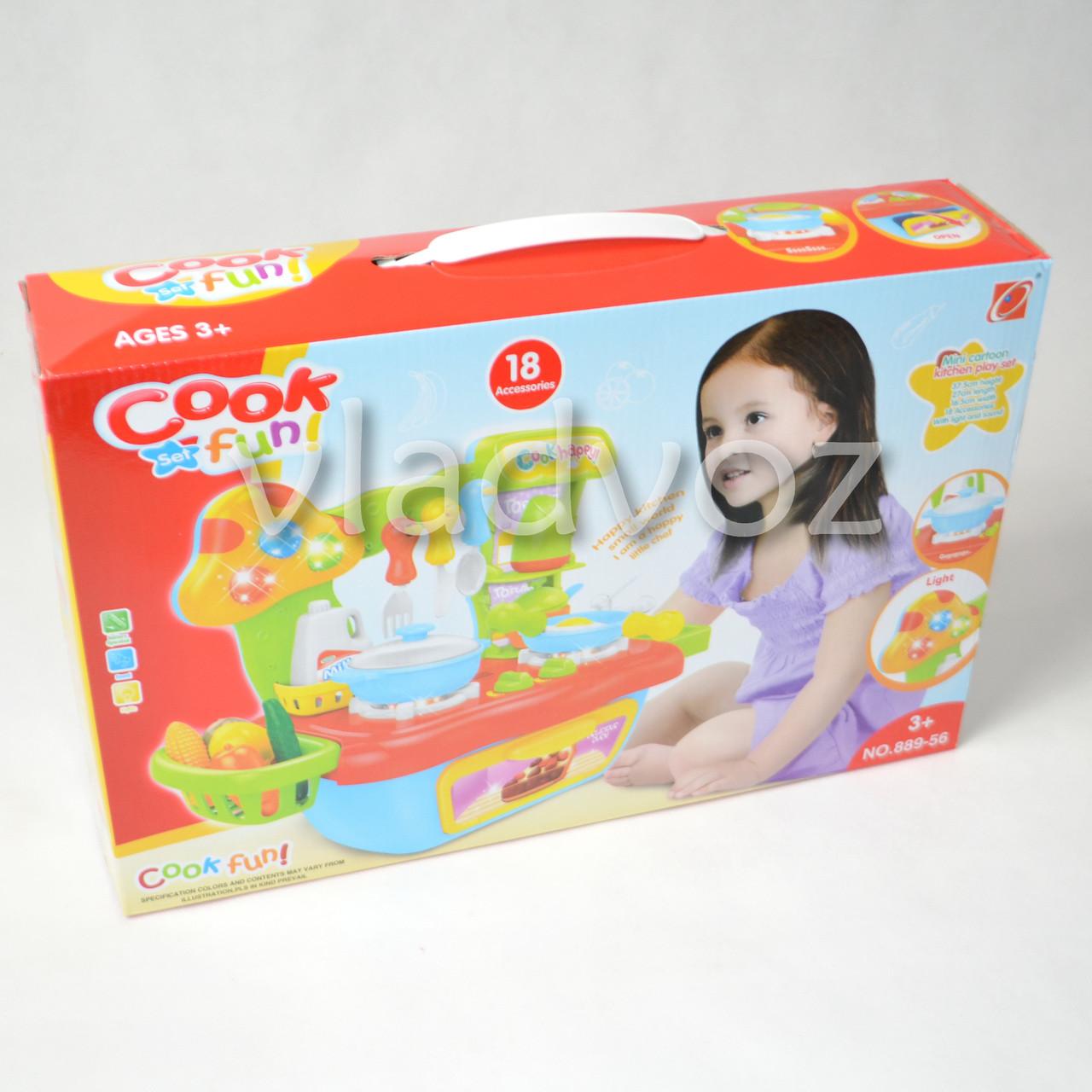 фото коробки детской пластиковой кухни для девочки, плита 2 камфорки голубая Cook fun mini