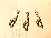 Металлическая подвеска Жираф 30*10мм 3шт бронза