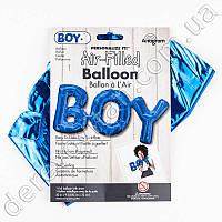 """Фольгированное слово """"BOY"""", синее, 22×50 см, США"""