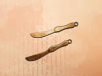 Металлическая подвеска Нож 55*50мм 2шт бронза