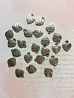 Металлическая подвеска Сердце Made with love 10*10мм 23шт серебро