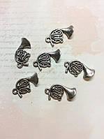 Металлическая подвеска Труба духовая 25*10мм 6шт серебро