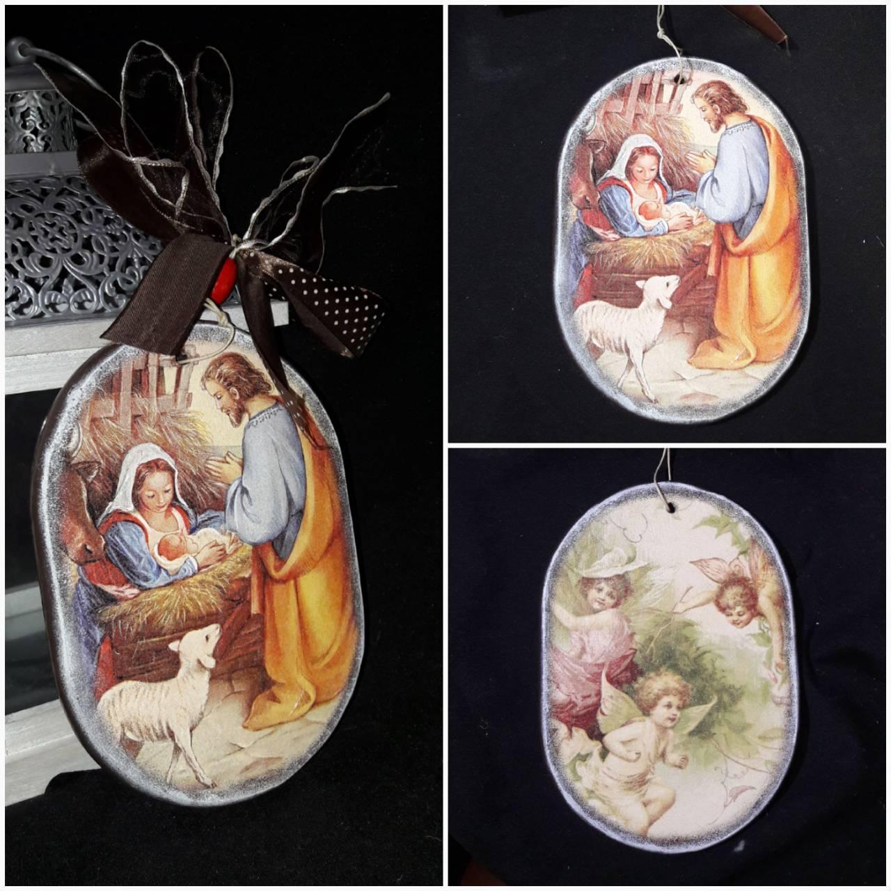 Вертеп рождественский из дерева, двусторонний, ручная работа, 19х13 см., 145/115 (цена за 1 шт. + 40 гр.)