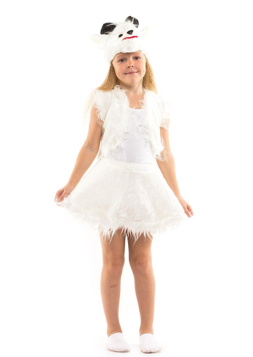 Детский карнавальный костюм Козочка белая мех (3-7 лет)
