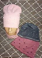Стильные комплекты со стразами и бусинами (шапка+баф).