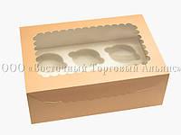Упаковка для 6 кексів і мафінів - Персикова - 255х180х90 мм
