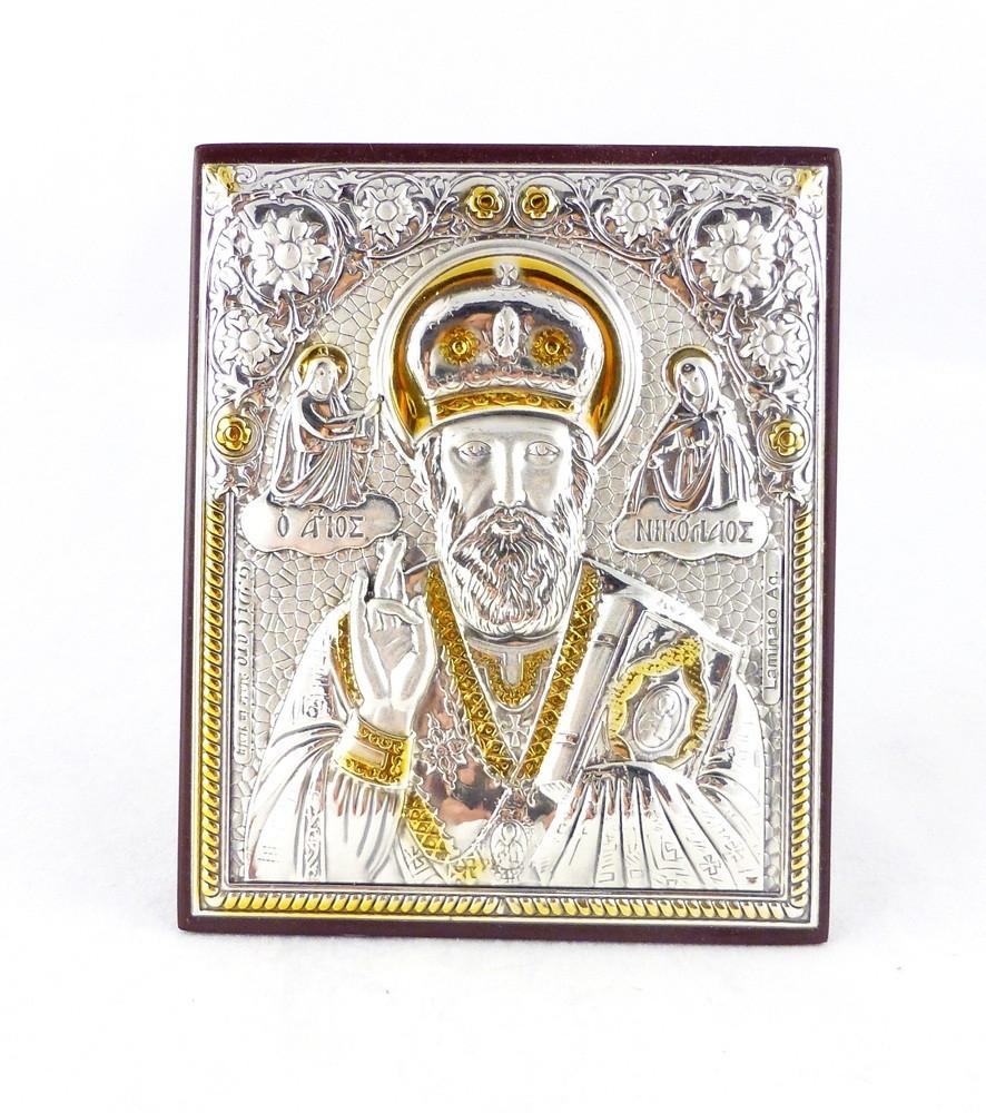 Икона Святой Николай на деревянной основе