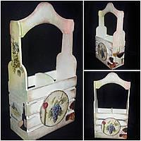 Деревянный ящик под 2 бутылки вина, ручная работа, декупаж, 38х22х11 см., 490 гр., фото 1