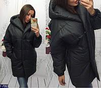 51ef748ae114 Удлиненная женская куртка зефирка с глубоким капюшоном черная 42 44 46 48