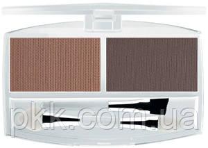 Тени для бровей FFleur Eyebrow корректор бровей компактные с аппликатором матовые двойные EВ-01