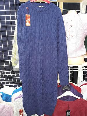 Женское теплое вязаное платье