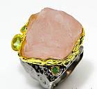 Кольцо ручной работы из серебра 925 пробы с натуральным морганитом Размер 19