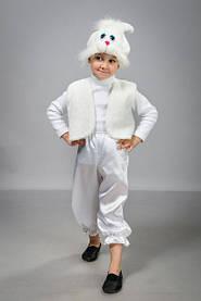 """Детский карнавальный костюм """"Зайчик Белый"""" атлас"""