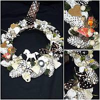 Декоративный венок - рождественское украшение ручной работы, 40-45 см., 420/370 (цена за 1 шт. + 50 гр.)