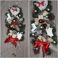 Богатая рождественская ветка на двери из натуральных материалов, 60-70 см., 340/290 (цена за 1 шт. + 50 гр.)