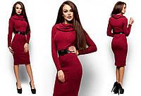 Теплое платье-миди Лантене (46-48 в расцветках)