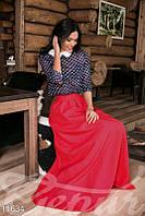 Присобранная красная юбка в пол с кармашками Gepur 11634