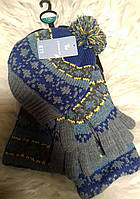 Шапка, шарф, варежки для мальчика Tu (Англия) 3-6лет.