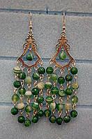 Серьги из Агата натуральный камень цвет зеленый