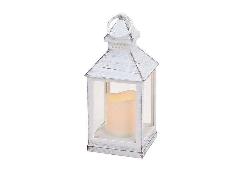 Фонарь со светодиодной лампой полистоун 10X10X24см