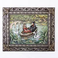 """Картина барельеф """"Пара влюбленных в лодке"""""""