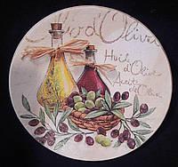Тарелка деревянная с декупажным рисунком, ручная работа, 15-16 см, 145/115 (цена за 1 шт. + 30 гр.)