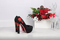 Красивые женские чёрные туфли экозамш с вышивкой тренд 2017