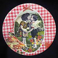 Декор - настенная тарелочка из дерева, декупаж, ручная работа, 15-16 см, 145/115 (цена за 1 шт. + 30 гр.)