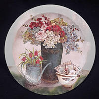 Декор - настенная тарелочка из дерева, декупаж, ручная работа, 18 см, 160/130 (цена за 1 шт. + 30 гр.)