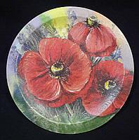 Декоративная тарелка в технике декупаж, дерево, ручная работа, 18 см, 160/130 (цена за 1 шт. + 30 гр.)