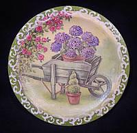 Тарелка деревянная с декупажным рисунком, ручная работа, 18 см, 160/130 (цена за 1 шт. + 30 гр.)