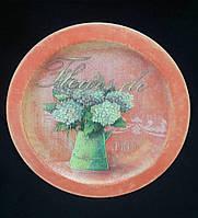 Декор - настенная тарелочка из дерева, декупаж, ручная работа, 22 см, 180/150 (цена за 1 шт. + 30 гр.)