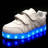 LEd кроссовки белые классика на липучках с узором 5111-1 Хит Продаж