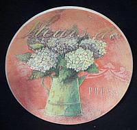 Круглая тарелочка в технике декупаж, деревянная, 15-16 см,145/115 (цена за 1 шт. + 30 гр.)
