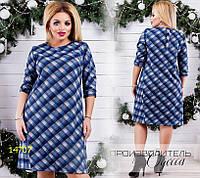 Платье 5813-1 клетка R-14707 синий
