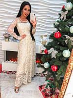 Стильное женское платье макси органза, вышивка и ленты пудра беж