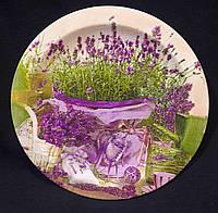 Круглая тарелочка в технике декупаж, деревянная, 18 см,160/130 (цена за 1 шт. + 30 гр.)