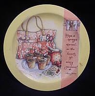 Деревянная тарелка в технике декупаж, 22 см,180/150 (цена за 1 шт. + 30 гр.)