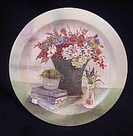 Тарелка декоративная настенная, декупаж, дерево, 22 см,180/150 (цена за 1 шт. + 30 гр.)