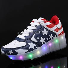 Кроссовки на роликах светящиеся Американский Флаг 5401  продажа ... 93c026bd1b4