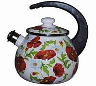 Чайник эмалированный со свистком (2.5 л) Epos Маковое поле, арт. 2711Ч